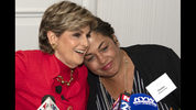 Chelan Lasha, a Bill Cosbys accuser, right, embraces with her Attorney, Gloria Allred minutes before a press conference at the Le Meridien Hotel in Philadelphia Pa., Sunday, Sept. 23, 2018. Cosby is due in court Monday, Sept. 24, for a two-day sentencing hearing that follows his conviction in the spring on three felony counts of aggravated indecent assault. (Jose F. Moreno/The Philadelphia Inquirer via AP)