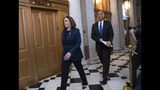 Senate Judiciary Committee members Sen. Kamala Harris, D-Calif., left, and Sen. Cory Booker, D-N.J., arrive at the chamber for the final vote to confirm Supreme Court nominee Brett Kavanaugh, at the Capitol in Washington, Saturday, Oct. 6, 2018. Harris and Booker were outspoken opponents of Kavanaugh during his confirmation hearing. (AP Photo/J. Scott Applewhite)