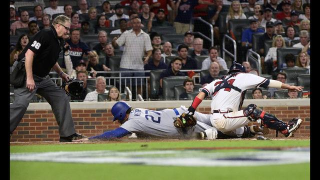 Vizcaino, Braves stop Dodgers 6-5, cut NLDS deficit to 2-1