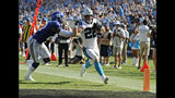 Carolina Panthers' Christian McCaffrey (22) runs past New York Giants' Landon Collins (21) for a touchdown in the second half of an NFL football game in Charlotte, N.C., Sunday, Oct. 7, 2018. (AP Photo/Mike McCarn)