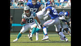 Carolina Panthers' Christian McCaffrey (22) runs as New York Giants' Curtis Riley (35) defends in the first half of an NFL football game in Charlotte, N.C., Sunday, Oct. 7, 2018. (AP Photo/Jason E. Miczek)