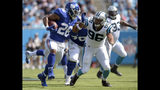 New York Giants' Saquon Barkley (26) runs past Carolina Panthers' Wes Horton (96) in the first half of an NFL football game in Charlotte, N.C., Sunday, Oct. 7, 2018. (AP Photo/Mike McCarn)