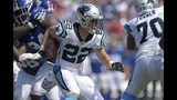 Carolina Panthers' Christian McCaffrey (22) runs against the New York Giants in the first half of an NFL football game in Charlotte, N.C., Sunday, Oct. 7, 2018. (AP Photo/Mike McCarn)