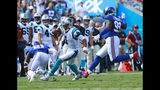 Carolina Panthers' Cam Newton (1) scrambles as New York Giants' Mario Edwards (99) and Landon Collins (21) defend in the second half of an NFL football game in Charlotte, N.C., Sunday, Oct. 7, 2018. (AP Photo/Jason E. Miczek)