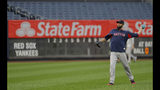 Boston Red Sox pitcher David Price throws on the field before an American League Division Series baseball game against the New York Yankees, Monday, Oct. 8, 2018, in New York. (AP Photo/Julie Jacobson)