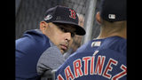 Boston Red Sox manager Alex Cora watches batting practice before Game 4 of baseball's American League Division Series against the New York Yankees, Tuesday, Oct. 9, 2018, in New York. (AP Photo/Bill Kostroun)