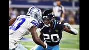 FILE - In this Sunday, Oct. 14, 2018, file photo, Jacksonville Jaguars cornerback Jalen Ramsey (20) defends against Dallas Cowboys wide receiver Michael Gallup (13) during the second half of an NFL football game in Arlington, Texas. The NFL's loudest trash talker is at a loss for words. Ramsey had little to say during his weekly media session. It was a repeat performance from his post-game news conference that followed a 40-7 loss to Dallas. (AP Photo/Ron Jenkins, File)