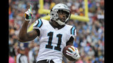 FILE - In this Sunday, Oct. 14, 2018, file photo, Carolina Panthers wide receiver Torrey Smith (11) celebrates his touchdown catch during the second half of an NFL football game against the Washington Redskins in Landover, Md. Smith was a starter for the Eagles last season. The Panthers face the Eagles on Sunday. (AP Photo/Mark Tenally, File(