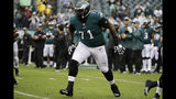 FILE - In this Sunday, Sept. 23, 2018, file photo, Philadelphia Eagles offensive tackle Jason Peters plays in an NFL football game against the Indianapolis Colts, in Philadelphia. Eagles nine-time Pro Bowl left tackle Jason Peters isn't expected to miss the game on Sunday, Oct. 21, against the Carolina Panthers despite tearing his right biceps. (AP Photo/Matt Rourke, File)