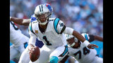 FILE - In this Sunday, Oct. 7, 2018, file photo, Carolina Panthers' Cam Newton (1) scrambles against the New York Giants in the second half of an NFL football game in Charlotte, N.C. The Panthers are also looking to establish themselves as playoff contenders when they play in Philadelphia on Sunday, Oct. 21. (AP Photo/Jason E. Miczek, File)