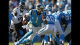 Carolina Panthers' Cam Newton (1) scrambles against the Baltimore Ravens in the second half of an NFL football game in Charlotte, N.C., Sunday, Oct. 28, 2018. (AP Photo/Nell Redmond)