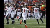 FILE - In this Oct. 28, 2018, file photo, Tampa Bay Buccaneers quarterback Jameis Winston (3) scrambles during the first half against the Cincinnati Bengals in an NFL football game in Cincinnati. Winston was benched after throwing four interceptions last week. The Bucs face the Carolina Panthers on Sunday. (AP Photo/Gary Landers, File)