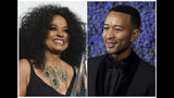 This combination photo shows Diana Ross at the American Music Awards in Los Angeles on Nov. 19, 2017, left, and John Legend at Caruso's Palisades Village opening gala in Los Angeles on Sept. 20, 2018. Ross and Legend will be among the stars celebrating at Macy's Thanksgiving Day Parade in New York City on Nov. 22. (AP Photo)