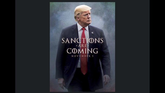 The Latest: Trump touts Iran sanctions on movie-style poster
