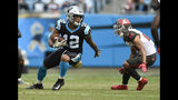 Carolina Panthers' DJ Moore (12) runs after a catch against the Tampa Bay Buccaneers in the second half of an NFL football game in Charlotte, N.C., Sunday, Nov. 4, 2018. (AP Photo/Mike McCarn)