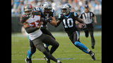 Carolina Panthers' Curtis Samuel (10) runs past Carlton Davis (33) for a touchdown in the first half of an NFL football game in Charlotte, N.C., Sunday, Nov. 4, 2018. (AP Photo/Nell Redmond)