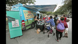 """In this, Monday, Oct. 22, 2018 photo, people gather around the Ben & Jerry's """"Yes on 4"""" truck as they learn about Amendment 4 and eat free ice cream at Charles Hadley Park in Miami. Amendment 4, asks voters to restore the voting rights of people with past felony convictions. More than 1.5 million adults in Florida are ineligible to vote because they have felony convictions. (AP Photo/Wilfredo Lee)"""