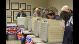 Voters packed the Vigo County Annex in Terre Haute, Ind., on Monday, Nov. 5, 2018, during the final day of early voting. (Austen Leake/Tribune-Star via AP)