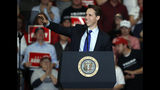Republican Senate candidate Josh Hawley waves to the crowd after being introduced by President Donald Trump during a campaign rally Monday, Nov. 5, 2018, in Cape Girardeau, Mo. (AP Photo/Jeff Roberson)
