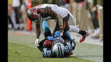 Carolina Panthers' Donte Jackson (26) intercepts a pass intended for Tampa Bay Buccaneers' DeSean Jackson (11) in the second half of an NFL football game in Charlotte, N.C., Sunday, Nov. 4, 2018. (AP Photo/Nell Redmond)