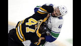 Vancouver Canucks right wing Darren Archibald (49) fights with Boston Bruins defenseman Torey Krug (47) during the third period of an NHL hockey game Thursday, Nov. 8, 2018, in Boston. The Canucks won 8-5. (AP Photo/Elise Amendola)