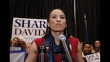 FILE - In this Tuesday, Nov.6, 2018 file photo, Democrat House candidate Sharice Davids gives a victory speech to supporters at a election party in Olathe, Kan. Davids defeated Republican incumbent Kevin Yoder to win the Kansas' 3rd Congressional District seat. Democratic House candidate Debra Haaland who won in New Mexico's 1st congressional district and Davids will join U.S. Reps. Tom Cole, who is Chickasaw, and Markwayne Mullin, an enrolled citizen of the Cherokee Nation, in the House. (AP Photo/Colin E. Braley, File)