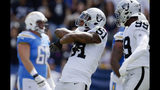 FILE- In this Oct. 7, 2018, file photo, Oakland Raiders defensive end Bruce Irvin, center, reacts after sacking Los Angeles Chargers quarterback Philip Rivers during the first half of an NFL football game in Carson, Calif. The Atlanta Falcons have signed Irvin to a one-year deal announced Wednesday, Nov. 7, 2018, reuniting the veteran with coach Dan Quinn. Irvin, cut by the Oakland Raiders on Saturday, became a free agent after clearing waivers on Tuesday with $3.8 million remaining on his contract. (AP Photo/Mark J. Terrill, File)