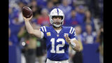 FILE - In this Sunday, Oct. 21, 2018 file photo, Indianapolis Colts quarterback Andrew Luck (12) throws against the Buffalo Bills during the first half of an NFL football game in Indianapolis. The Indianapolis Colts spent their offseason cramming for Sunday's test. They understood that to ascend in the AFC South, they needed a bigger, stronger offensive line, better coaching and different study habits. So far, they've aced it. Now they face their biggest challenged: Jacksonville's daunting defense. (AP Photo/Michael Conroy, File)
