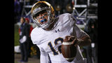 Notre Dame's Ian Book celebrates as he scores a touchdown against Northwestern during the second half of an NCAA college football game Saturday, Nov. 3, 2018, in Evanston, Ill. (AP Photo/Jim Young)