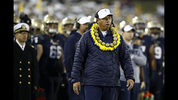 Navy head coach Ken Niumatalolo walks down the sideline in the first half of an NCAA college football game against Tulsa, Saturday, Nov. 17, 2018, in Annapolis, Md. (AP Photo/Patrick Semansky)