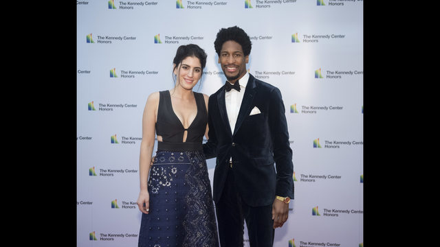 Pianist Jon Batiste And Suleika Jaouad Arrive At The State Department For Kennedy Center Honors Dinner On Saturday Dec