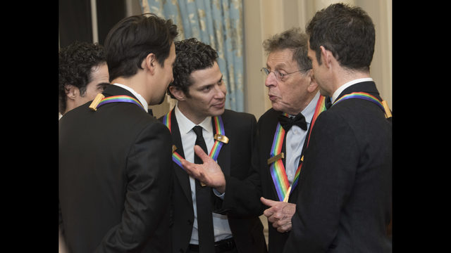 2018 Kennedy Center Honoree Philip Glass Second Right Talks With Fellow Honorees The Co Creators Of Hamilton Thomas Kail Lin Manuel Miranda