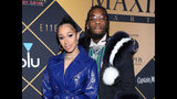 FILE - In this Feb. 3, 2018, file photo, Cardi B, left, and Offset arrive at the Maxim Super Bowl Party at the Maxim Dome in Minneapolis. Cardi B is no longer feeling the love after little more than a year of marriage to fellow rapper Offset. (Photo by Omar Vega/Invision/AP, File)
