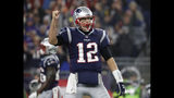 FILE - In this Sunday, Dec. 2, 2018, file photo, New England Patriots quarterback Tom Brady celebrates a touchdown during an NFL football game against the Minnesota Vikings at Gillette Stadium in Foxborough, Mass. Brady's next touchdown pass will move him past a couple of all-time greats. Brady is currently tied with Brett Favre for third place for the most regular-season TD passes with 508. Brady is also tied with Peyton Manning for the most ever combined in the regular season and playoffs with 579. (Winslow Townson/AP Images for Panini, FIle)