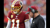 Coach Jay Gruden talks with his quarterback Alex Smith (11) in the 2nd half during the Bucs game against the Washington Redskins Sunday. Nov. 11, 2018 at Raymond James Stadium in Tampa, Fla. (Jim Damaske/Tampa Bay Times via AP)