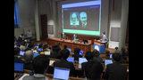The 2018 Nobel laureates in Physiology or Medicine, Tasuko Honjo, left, and James P. Allison attend a press conference at the Karolinska Institutet, Stockholm, Sweden, Thursday Dec. 6, 2018. (Janerik Henriksson/TT via AP)