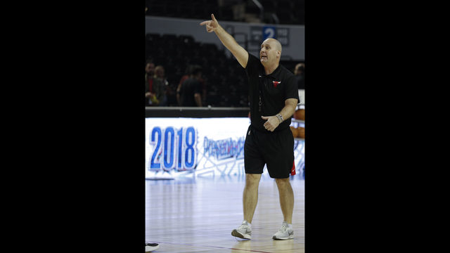d70e42823b4f Chicago Bulls coach Jim Boylen gives directions to his players during a  basketball practice at Mexico City Arena in Mexico City