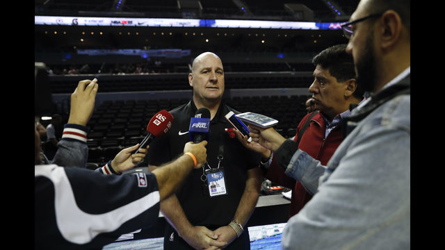 33497246eecd Chicago Bulls coach Jim Boylen talks to journalists before a basketball  practice at Mexico City Arena in Mexico City