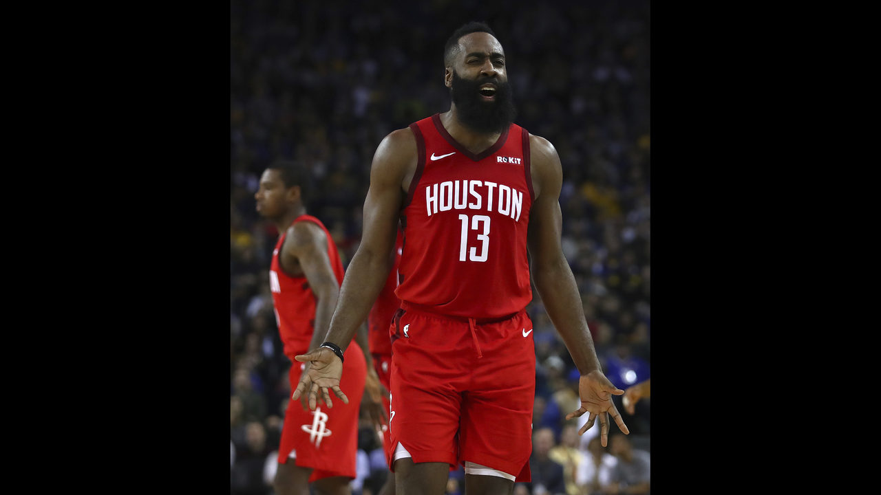 f71053be1164 Harden rallies Rockets in OT to edge Warriors 135-134