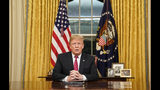 President Donald Trump speaks from the Oval Office of the White House as he gives a prime-time address about border security Tuesday, Jan. 8, 2018, in Washington. (Carlos Barria/Pool Photo via AP)