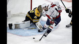 Washington Capitals right wing Tom Wilson (43) shoots but cannot score against Boston Bruins goaltender Jaroslav Halak (41) during the first period of an NHL hockey game Thursday, Jan. 10, 2019, in Boston. (AP Photo/Elise Amendola)