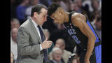 Duke coach Mike Krzyzewski, left, talks with Javin DeLaurier during the second half of the team's NCAA college basketball game against Wake Forest in Winston-Salem, N.C., Tuesday, Jan. 8, 2019. (AP Photo/Chuck Burton)