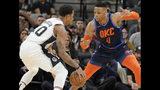 San Antonio Spurs' DeMar DeRozan, left, drives against Oklahoma City Thunder's Russell Westbrook during the first half of an NBA basketball game, Thursday, Jan. 10, 2019, in San Antonio. (AP Photo/Darren Abate)