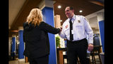 Barron County Sheriff Chris Fitzgerald is greeted early Friday, Jan. 11, 2018 in Rice Lake, Wis. Jayme Closs, a Wisconsin teenager missing for nearly three months after her parents were killed in the family home was found alive by a woman who stumbled across the 13-year-old girl. The Douglas County Sheriff's Office confirmed on its website that Jayme was found in the town at 4:43 p.m. Thursday, and that a suspect was taken into custody 11 minutes later. (Aaron Lavinsky/Star Tribune via AP)