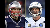 FILE - At left, in a Dec. 2, 2018, file photo, New England Patriots quarterback Tom Brady smiles after a touchdown during an NFL football game against the Minnesota Vikings, in Foxborough, Mass. At right, in a Jan. 6, 2019, file photo, Los Angeles Chargers quarterback Philip Rivers walks on the field in the second half of an NFL wild card playoff football game against the Baltimore Ravens, in Baltimore. The Chargers and Patriots meet in a divisional playoff game on Sunday, Jan. 13, 2019. (AP Photo/File)