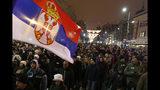 Una protesta contra el gobierno serbio en Belgrado, Serbia el 12 de enero del 2019. (AP Photo/Darko Vojinovic)