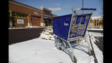 FILE- In this Tuesday, Jan. 1, 2019, file photo, an empty shopping cart sits outside a Sears store in the Streets of Southglenn mall in Littleton, Colo. As Sears teeters on the brink of collapse, there's one man at the center of the fight for the future of the iconic retailer. Eddie Lampert plays several, often conflicting, roles in what could be the final chapter for the company that began as a mail order watch business 132 years ago. He's been chairman, CEO, landlord, lender, and largest shareholder all at the same time. If the company survives, he wins. If it ends up liquidating, he also wins. (AP Photo/David Zalubowski, File)