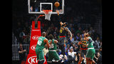 Atlanta Hawks forward DeAndre' Bembry (95) goes up for the shot in the first half of an NBA basketball game against the Boston Celtics on Saturday, Jan. 19, 2019, in Atlanta. (AP Photo/Todd Kirkland)