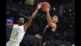 Louisville guard Christen Cunningham shoots as Georgia Tech guard Curtis Haywood II (13) defends during the first half of an NCAA college basketball game Saturday, Jan. 19, 2019 in Atlanta. (AP Photo/John Amis)