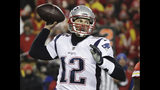 New England Patriots quarterback Tom Brady (12) throws a pass during the second half of the AFC Championship NFL football game against the Kansas City Chiefs, Sunday, Jan. 20, 2019, in Kansas City, Mo. (AP Photo/Elise Amendola)